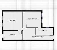 floor plan with living room, master bedroom, kitchen, hall, and entrance of paris luxury apartment