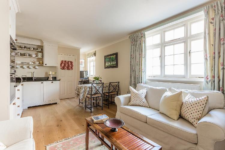 nice open-plan living room of London Kynance Mews luxury apartment