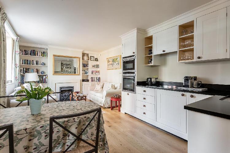 cool modern kitchen of London Kynance Mews luxury apartment