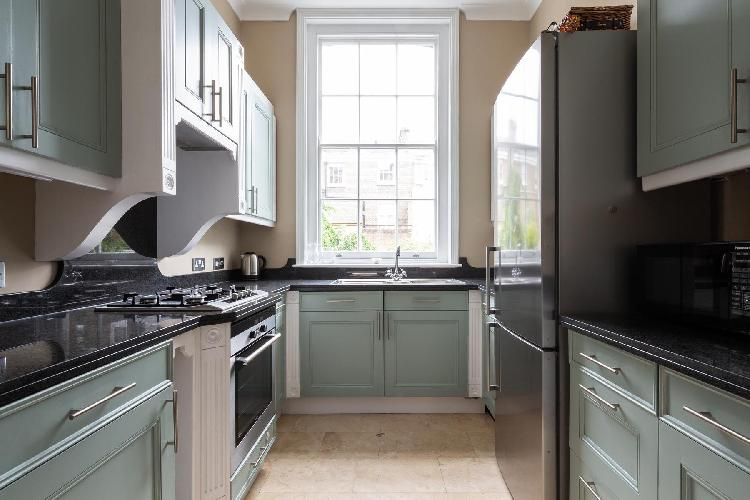 nice country kitchen of London Kensington Church Street VII luxury apartment