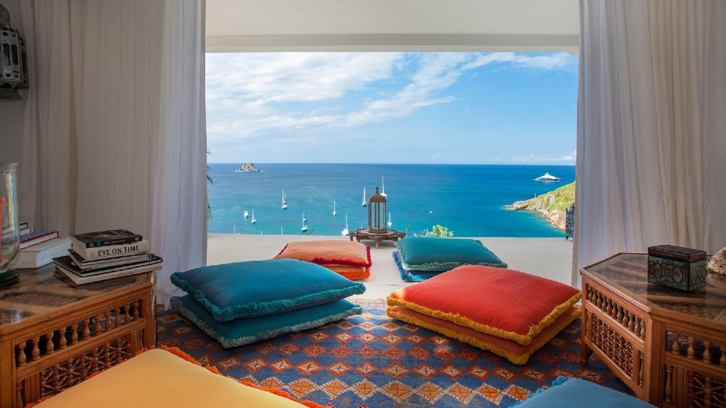 splendid sea view from Saint Barth Villa Mauresque luxury holiday home, vacation rental