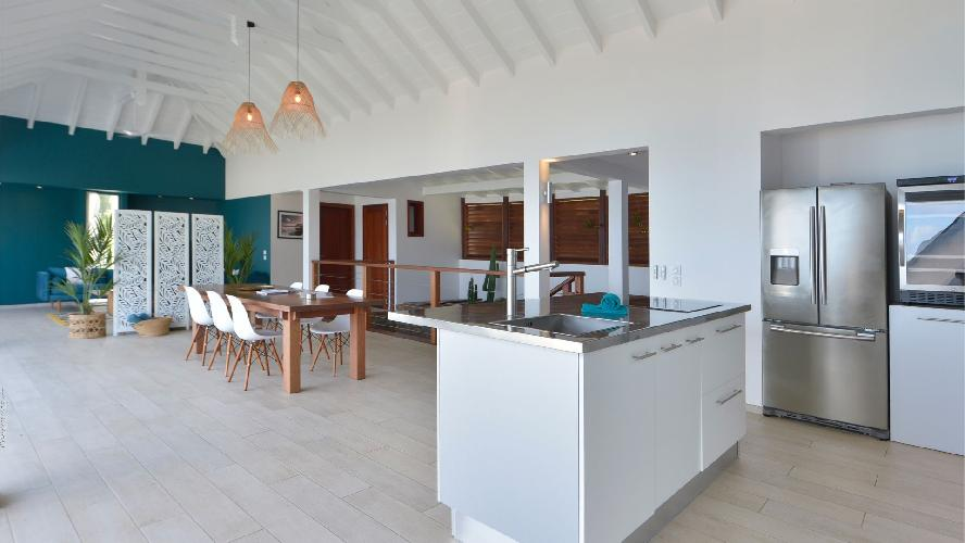 cool kitchen island in Saint Barth Villa Flamands Bay luxury holiday home, vacation rental
