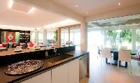 swanky kitchen of Saint Barth Villa Cumulus luxury holiday home, vacation rental