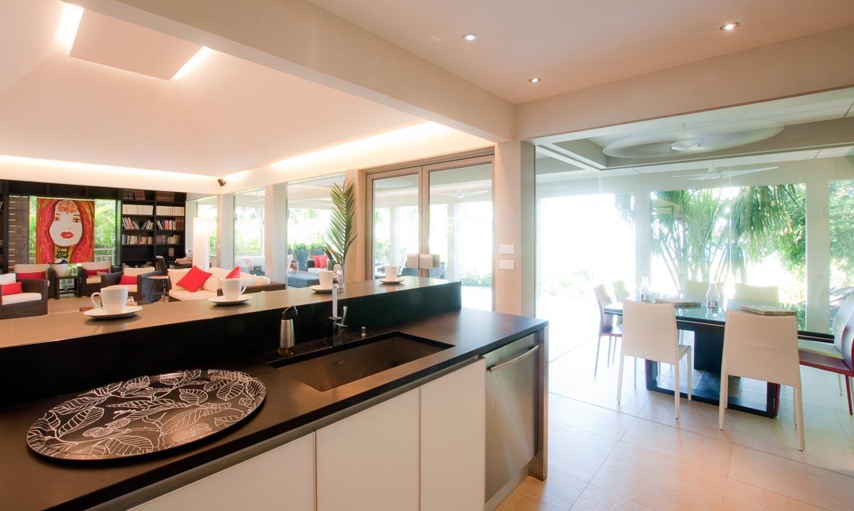 swanky kitchen of Saint Barth Villa Cumulus luxury holiday home, vacation rental
