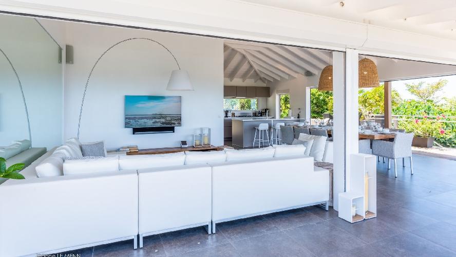 beautiful living room of Saint Barth Villa Avalon luxury holiday home, vacation rental