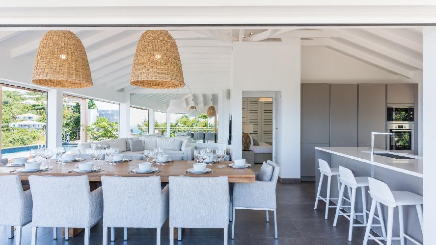 beautiful dining room of Saint Barth Villa Avalon luxury holiday home, vacation rental
