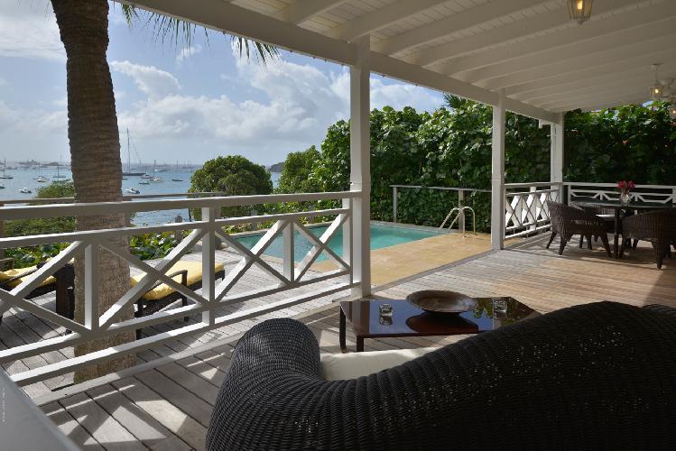 cool balcony of Saint Barth Villa Petit Saint Louis luxury holiday home, vacation rental