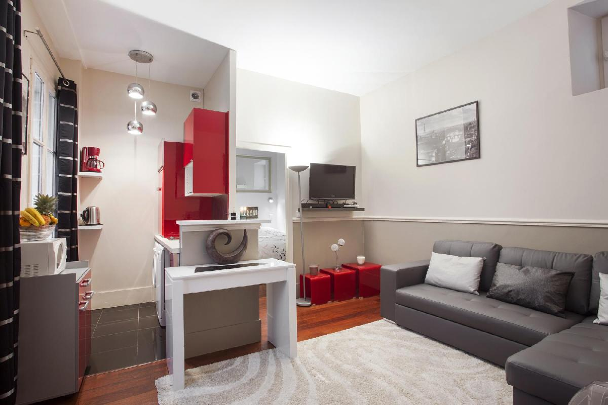 1-bedroom 1-bathroom  Paris luxury apartment beautifully decorated in red and gray tones
