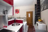 1-bedroom Paris luxury apartment with equipped kitchen in red and white hues