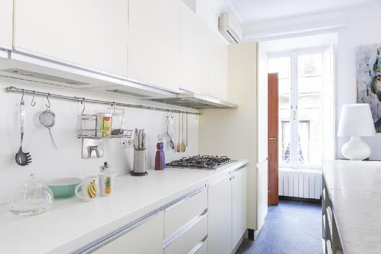modern kitchen appliances in Rome - Via del Cardello luxury apartment