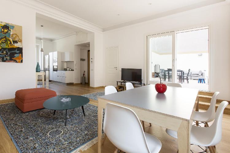 awesome open-plan living room of Rome - Via Stefano Porcari luxury apartment