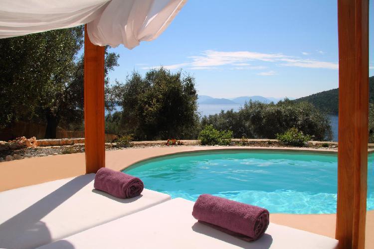 cool swimming pool of Lefkas Amapola Villa Agapi luxury holiday home, vacation rental