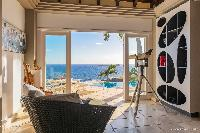 cool balcony of Saint Barth Villa Acamar luxury holiday home, vacation rental