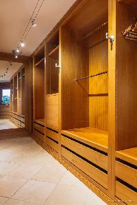 neat walk-in closet in Saint Barth Villa Acamar luxury holiday home, vacation rental
