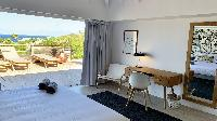 fresh bedroom linens in Saint Barth Villa Lagon Rose luxury holiday home, vacation rental