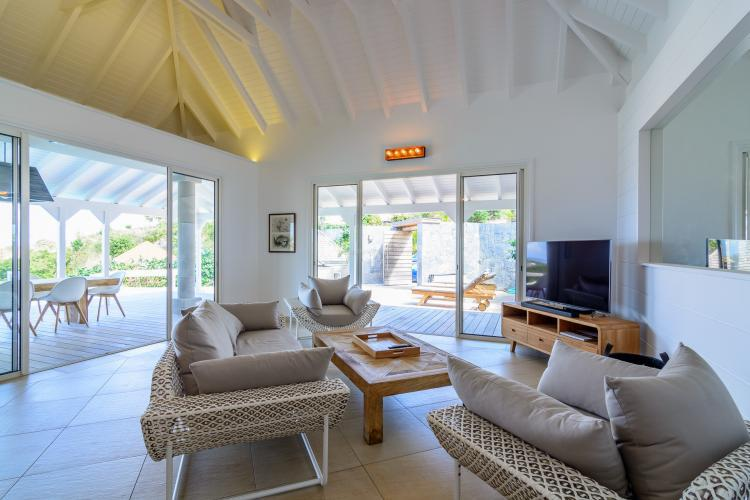 cool living room of Saint Barth Villa Lagon Rose luxury holiday home, vacation rental