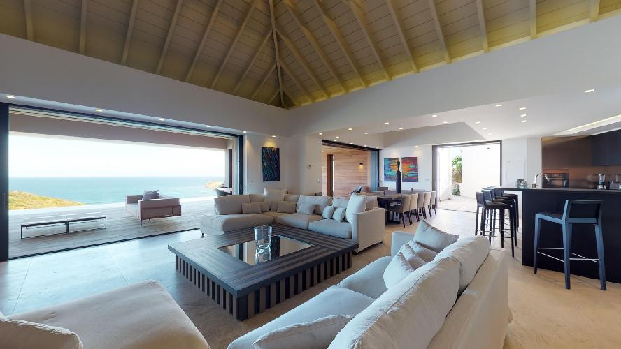 cool living room of Saint Barth Villa Romane luxury holiday home, vacation rental