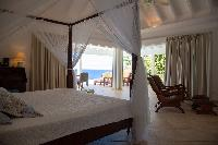 fresh bedroom linens in Saint Barth Villa Tortue luxury holiday home, vacation rental