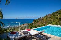 cool swimming pool of Saint Barth Villa Tortue luxury holiday home, vacation rental