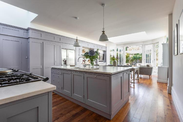cool kitchen island of Wandsworth Common luxury apartment