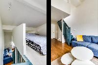 lovely loft bedroom and living area in a studio Parisian apartment