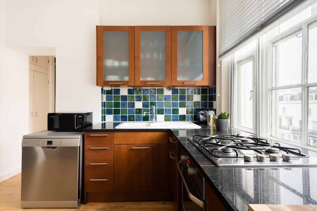 modern kitchen appliances in The Holland Park Escape luxury home and vacation rental