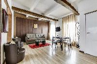 2-bedroom Paris luxury apartment with beautiful parquet flooring and authentic high ceiling beams