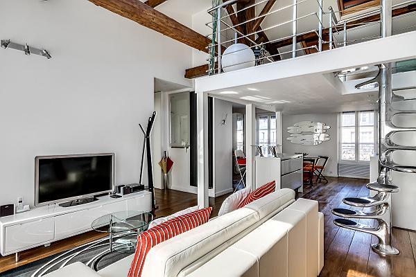 modern living area, dining area, kitchen, bedroom, and bathroom in a 1-bedroom loft Paris luxury apa