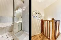 stairs and full bathroom in a 3-bedroom Paris luxury apartment