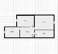 second level floor plan with 3 bedrooms, bathroom, and stairway of a Paris luxury apartment