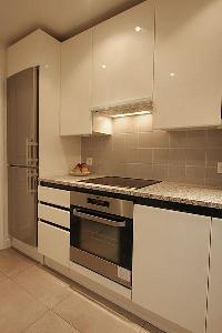 cool modern kitchen of Passy La Tour luxury apartment