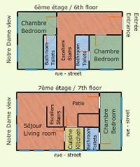 two-level floor plan with living room, 3 en suite bathrooms, 3 bedrooms, stairs, entrance, kitchen,