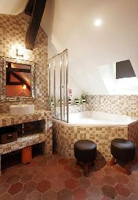 second bathroom with shower, tiled floor, 1 sink, hairdryer, separate toilet in a 2-bedroom Paris lu
