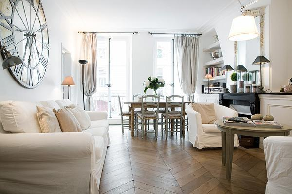 classy living and dining area in a 2-bedroom Paris luxury apartment
