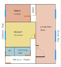 floor plan with kitchen, bedroom, bathroom, living room, closet, bathroom, WC, and entrance of a 1-b