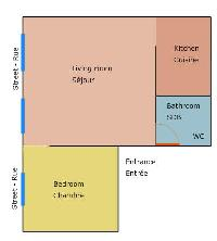 floor plan with a living room, kitchen, bathroom, and bedroom in a 1-bedroom Paris luxury apartment
