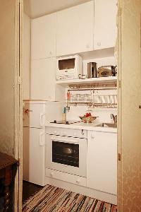 compact kitchen in a studio luxury apartment in Paris