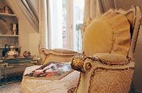 elegant and classic armchair in a studio luxury apartment in Paris