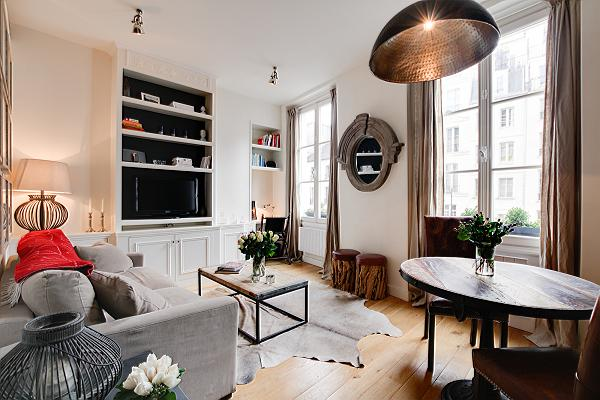 modern and rustic 1-bedroom Paris luxury apartment