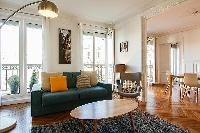 Paris luxury two-bedroom apartment with contemporary and cozy interiors