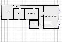 floor plan with living room, open kitchen, bathroom, bedroom, and corridor of a 2-bedroom paris luxu