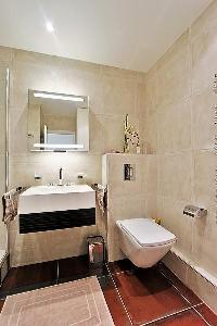 an en-suite bathroom fully-furnished with a sink, a toilet, a mirror, and a shower area  in a 2-bedr