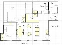 floor plan with 3 bedrooms, kitchen, WC, bathroom, living room, and dining area of a 3-bedroom Paris