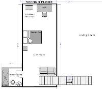 floor plan of a lofted bedroom with living area, stairs, bedroom, and bathroom of a Paris luxury apa