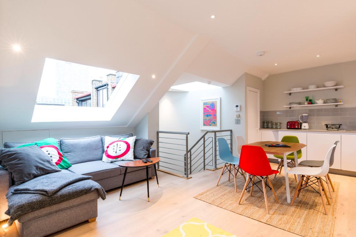 adorable open-plan living room of London Hanbury Street 2BR luxury apartment