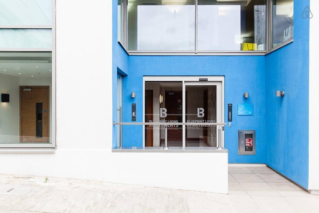 cool building entrance of London Farringdon luxury apartment