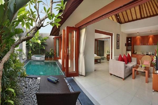 cool lanai by the pool of Bali - Legian Kriyamaha Villa 9 luxury apartment