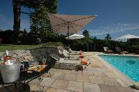 amazing poolside furnishings at Cannes Villa Ste Genevieve luxury apartment