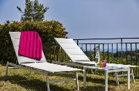 cool poolside furniture of Cannes Villa Les Orangers luxury apartment